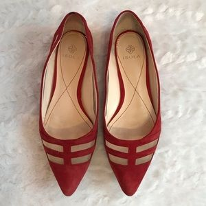 Isola Red Suede Pointed Toe Mesh Cutout Flats Sz 9